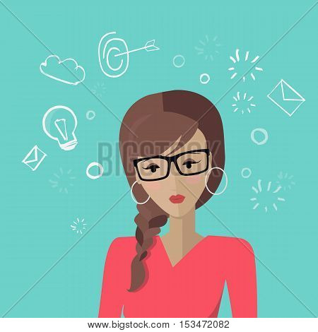 Young woman avatar icon. Young woman in glasses and red blouse. Social networks business users avatar pictogram. Creative background. Isolated vector illustration on blue background.