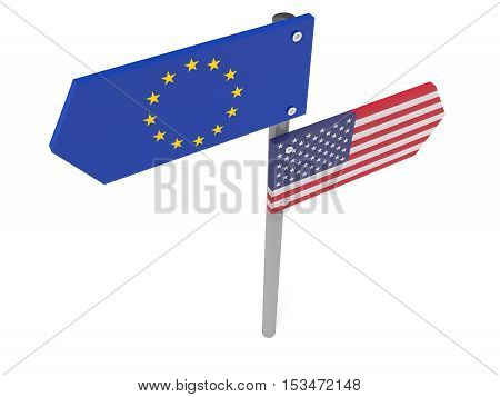 Disagreement: US And EU Road Sign Pointing In Different Directions 3d illustration