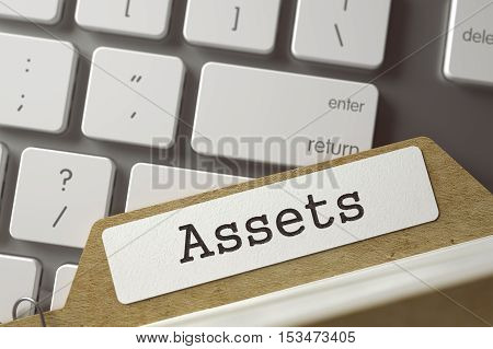 Assets Concept. Word on Folder Register of Card Index. Archive Bookmarks of Card Index on Background of White PC Keypad. Closeup View. Selective Focus. Toned Illustration. 3D Rendering.