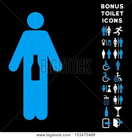 WC Man icon and bonus man and woman WC symbols. Vector illustration style is flat iconic bicolor symbols, blue and white colors, black background.
