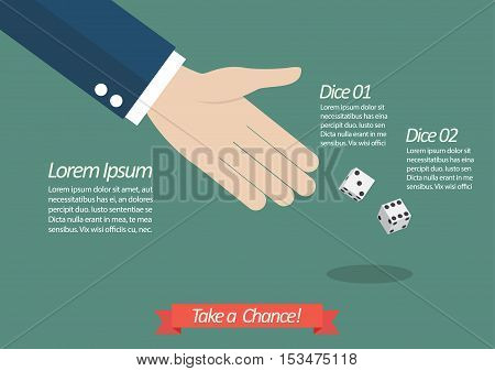Take a chance infographic. Businessman throwing dice