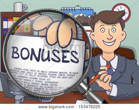 Bonuses. Stylish Business Man in Office Shows Paper with Concept through Magnifier. Multicolor Modern Line Illustration in Doodle Style.