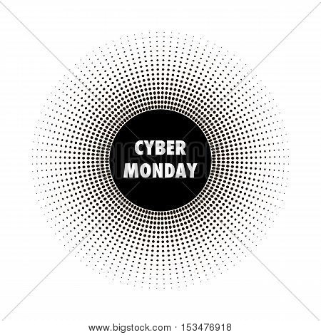 Cyber Monday sales banner. Halftone effect vector illustration. Black dots on white background. Design template with text Cyber Monday.