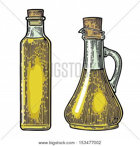 Bottle and Jug glass of liquid with cork stopper. Olive oil. Hand drawn design element. Vintage color vector engraving illustration for logotype poster web. Isolated on white background.