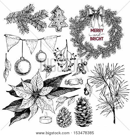 Vector set of Christmas objects. Hand drawn vintage style. Xmas Icons. Wreath lettering pine tree branch fir pinecone poinsettia candle berries bow coockies holly candy.