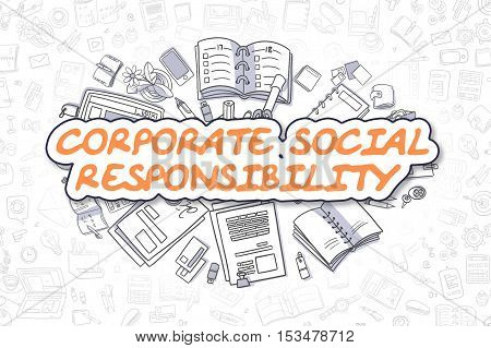 Corporate Social Responsibility - Sketch Business Illustration. Orange Hand Drawn Inscription Corporate Social Responsibility Surrounded by Stationery. Doodle Design Elements.