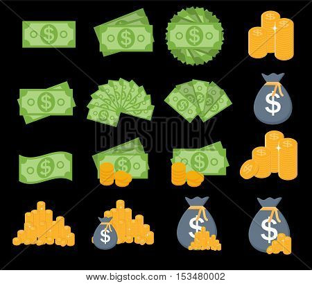 US Dollar Stack Paper Banknotes and Gold Coins Icon Sign Collection Set. Business Finance Money Concept Vector Illustration EPS10
