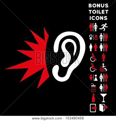 Listen Loud Sound icon and bonus gentleman and woman restroom symbols. Vector illustration style is flat iconic bicolor symbols, red and white colors, black background.