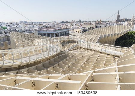 View from Metropol Parasol Giralda Cathedal in the background Seville Spain. Vista desde el Mirador Metropol Parasol catedral de la Giralda al fondo Sevilla España