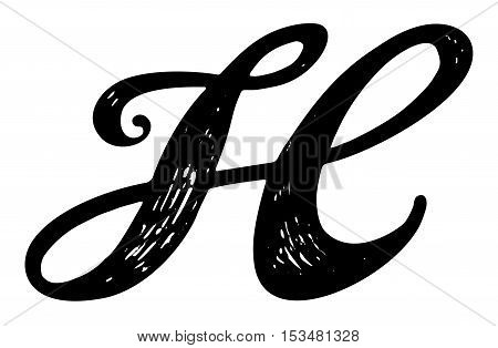 H Letter In Style Letter H. Calligraphy ...