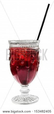 A photo of a vibrant red cocktail with a straw, isolated on white