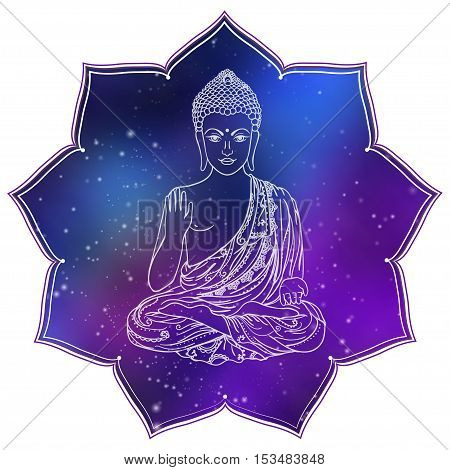 Drawing of a Buddha statue. Art vector illustration of Gautama Buddhism Religion.