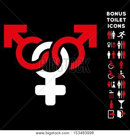 Polyandry icon and bonus gentleman and woman WC symbols. Vector illustration style is flat iconic bicolor symbols, red and white colors, black background.