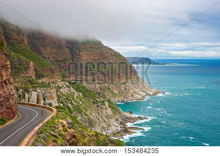 Chapman's Peak Drive, Cape Town, South Africa. Rough Coastline In Winter Season, Cloudy And Dramatic