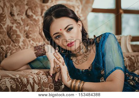 Portrait Of A Beautiful Woman In Indian Traditional Chinese Dres