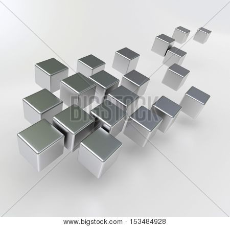 3D rendering of a group of metallic cubic shapes in chrome against a white background
