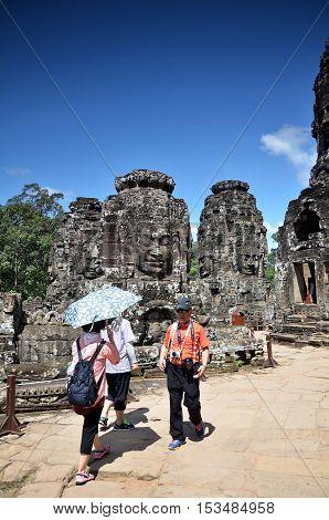 Ancient Bayon Temple At Angkor Wat, Cambodia