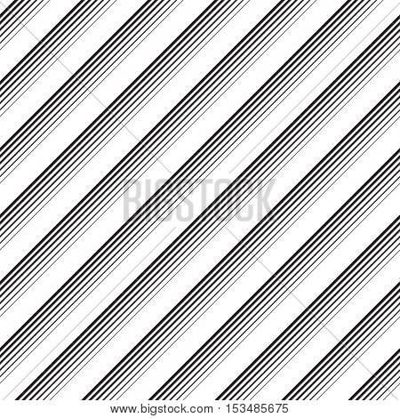 Seamless Diagonal Stripe Pattern. Vector Black and White Background. Simple Line Design