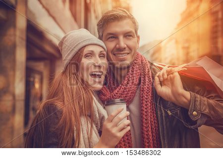 couple shopping for christmas in wintertime