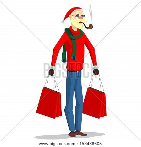 Santa Claus in a modern, fashionable clothes