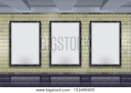 Vector color pattern image for placing advertising posters. Wall mock up on the background wall of bricks subway tiles. Mock up Vector subway wall.