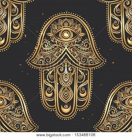 Ornament pattern with gold hamsa. Geometric circle element made in vector. Talisman ornamental hamsa, symbol Eye protection.