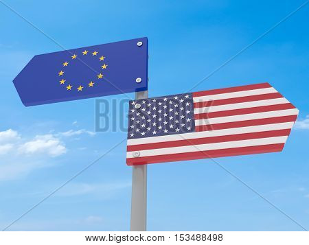 Disagreement: US And EU Road Sign Pointing In Different Directions Against A Cloudy Sky 3d illustration
