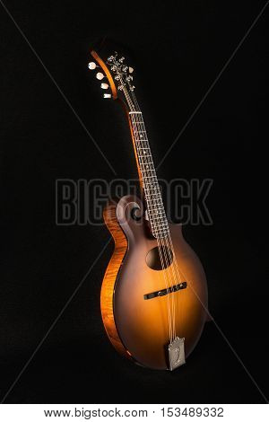Mandolin on black background front view mandoline
