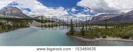 Panorama Of The Athabasca River - Jasper National Park, Canada