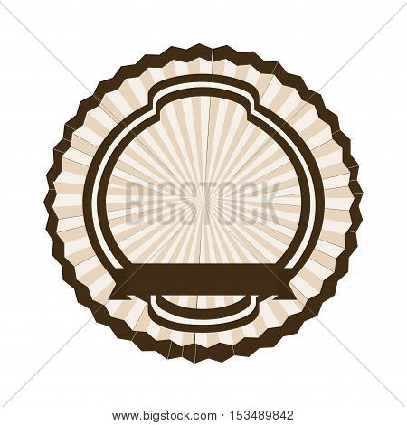 sober dark brown emblem or label icon image vector illustration design