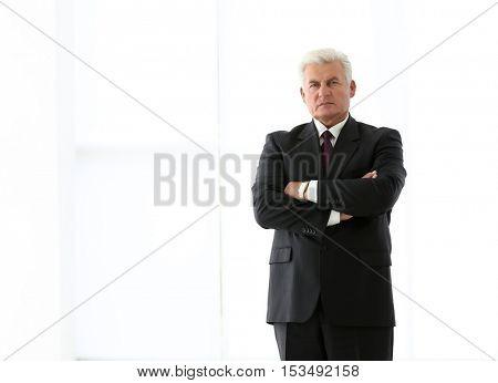 Successful mature businessman on light background