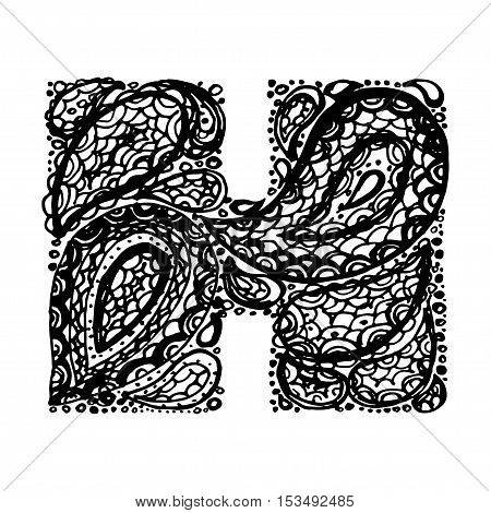 Letter h decorative vector photo free trial bigstock letter h decorative alphabet with a paisley zen doodle tattoo ornaments filling display font altavistaventures Choice Image