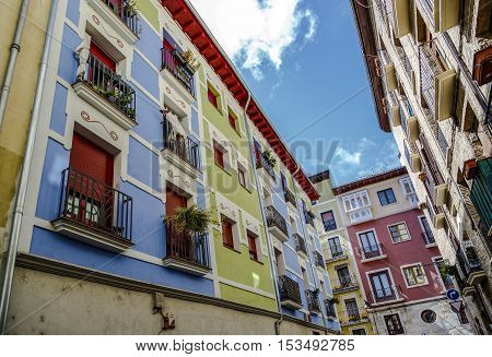 Pamplona Spain - August 21 2016: detail balconies of the old Episcopal seminary today hostel accommodation and pilgrims on the Camino de Santiago.