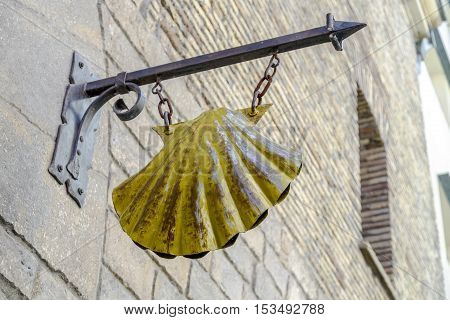 Pamplona Spain - August 21 2016: detail of the scallop of pilgrims in the old Episcopal seminary today and hostel accommodation.