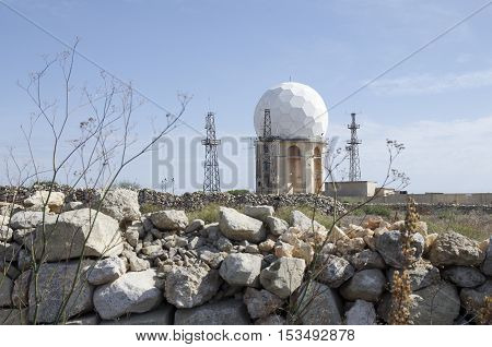 Sphere radar at Malta, Dingli Cliffs with rocks