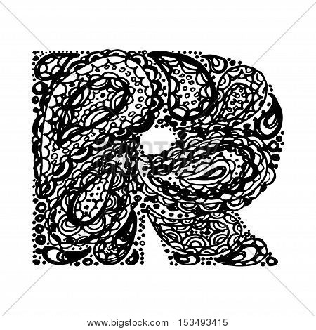 Letter R Decorative Alphabet With A Paisley Zen Doodle Tattoo Ornaments Filling Display Font