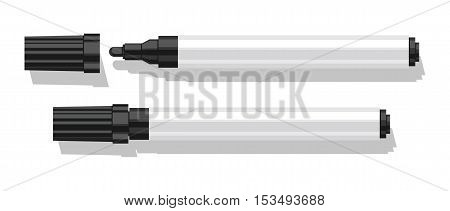 Marker with shadow isolated on white background. Realistic vector illustration.