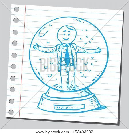 Businessman in snow globe