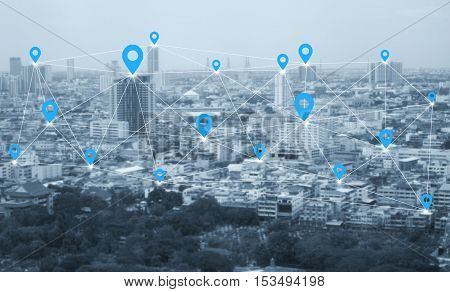 City scape and social network connection technology. network connection concept