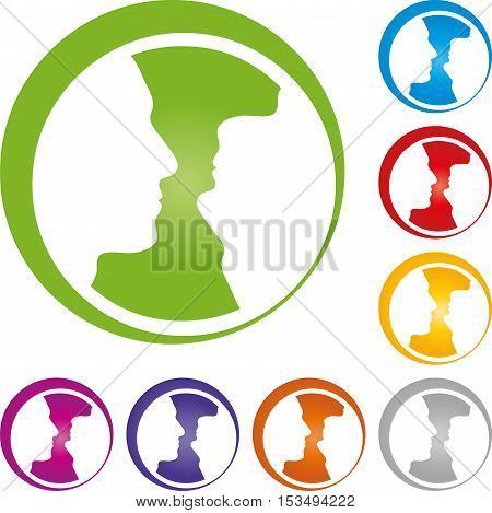 Two faces, head, colored, people, people logo