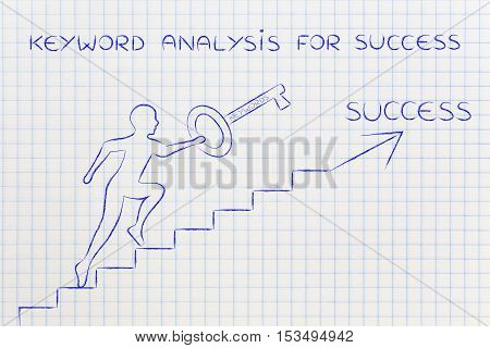 Keywords To Reach Success, Man Holding Huge Key Climbing Up