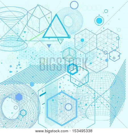 Sacred geometry symbols and elements background. Cosmic universe bing bang alchemy religion philosophy astrology science physics chemistry and spirituality themes.