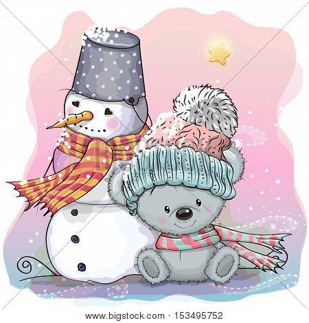 Cute Bear And Snowman