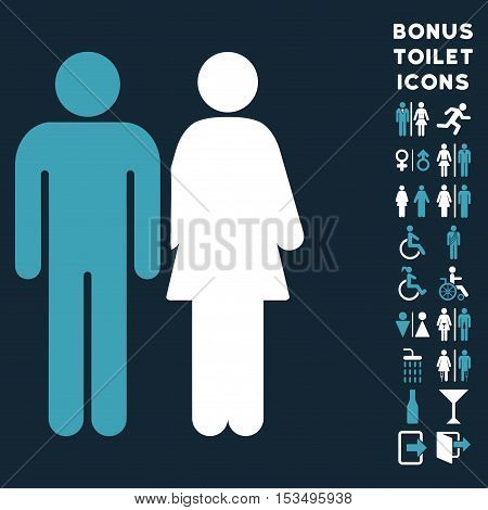 Married Couple icon and bonus male and lady restroom symbols. Vector illustration style is flat iconic bicolor symbols, blue and white colors, dark blue background.