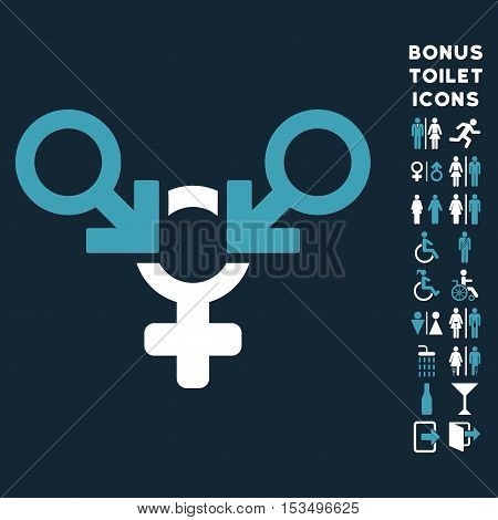 Polyandry icon and bonus man and lady restroom symbols. Vector illustration style is flat iconic bicolor symbols, blue and white colors, dark blue background.