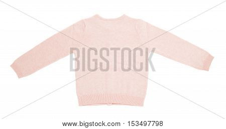 Pink knitted cashmere cardigan. Isolated on a white background.