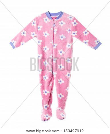 Pink fleece pajamas with floral pattern. Isolated on a white background.