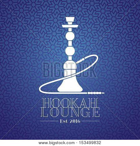 Hookah vector logo icon symbol emblem sign. Template graphic design element for menu of hookah lounge bar vintage style decoration