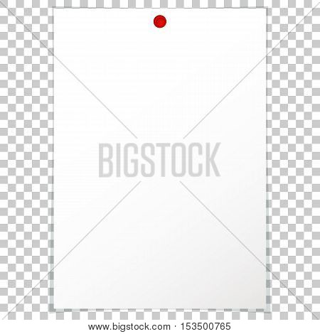 Vector illustration of a blank album sheet of paper attached to a red pushpin. Isolated paper format A4 for notes, for records.