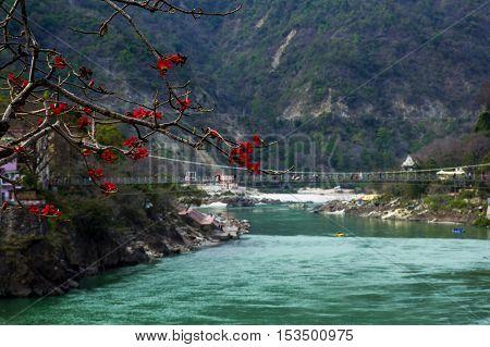View to Ganga river and lakshman jhula bridge in Rishikesh, the world's capital of yoga
